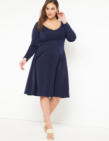 Sweetheart Fit and Flare Dress in Navy