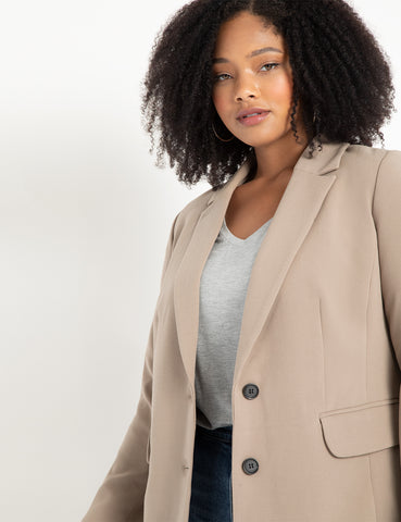 Long Tailored Blazer in Desert Taupe