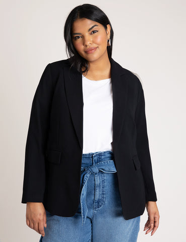 Classic Woven Blazer in Totally Black