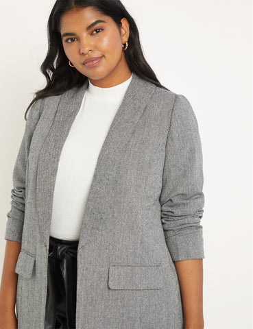 Relaxed Herringbone Blazer in Herringbone