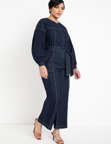 Puff Sleeve Jumpsuit With Belt in Dark Medium Wash