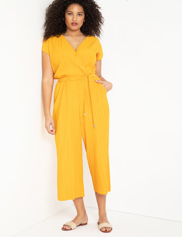 Textured Easy Cropped Jumpsuit in Golden Asterid