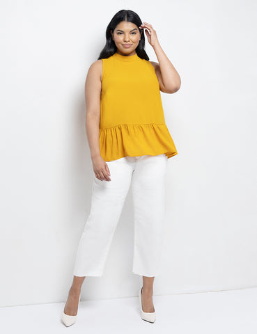 Tie Back Peplum Top in Golden Glow