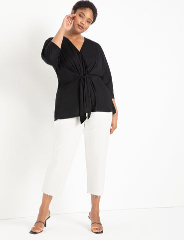 Tie Front Tunic in Black