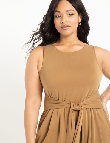 Widleg Cropped Jumpsuit in Raw Umber
