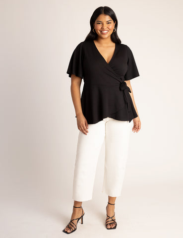 Flutter Sleeve Peplum Wrap Top in Totally Black