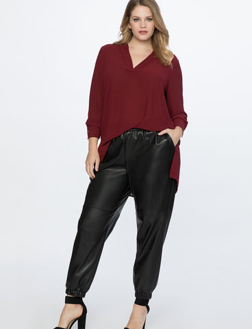 Easy V Neck Tunic in Cordovan