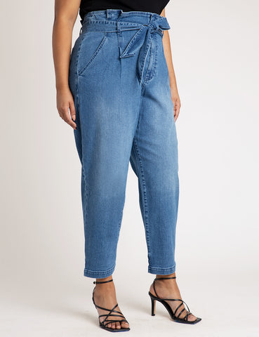 High Waisted Jean with Ankle Cinch in Medium Wash