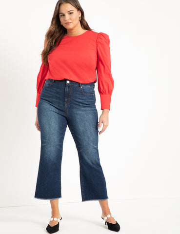 Puff Sleeve Tafetta Blouse in Haute Red