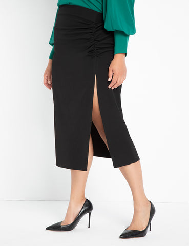 Ruched Skirt with Slit in Totally Black