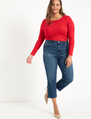 Crossover Front Tee in Haute Red