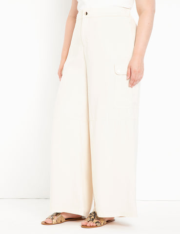 Wide Leg Cargo Pant in White Swan
