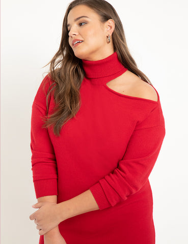 Cold Shoulder Sweater Dress in Haute Red