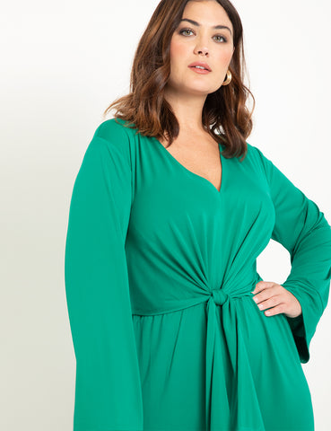 Tie Front Relaxed Jumpsuit in Green