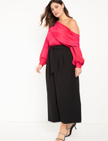 Off the Shoulder Draped Blouse in Love Potion