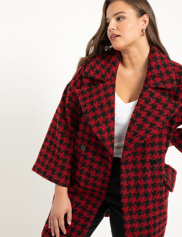 Houndstooth Coat in Black + Red