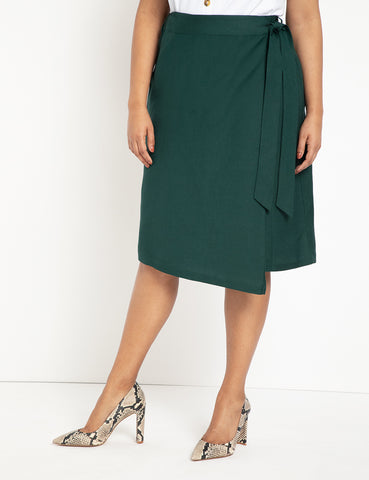 Wrap Midi Skirt in Bistro Green