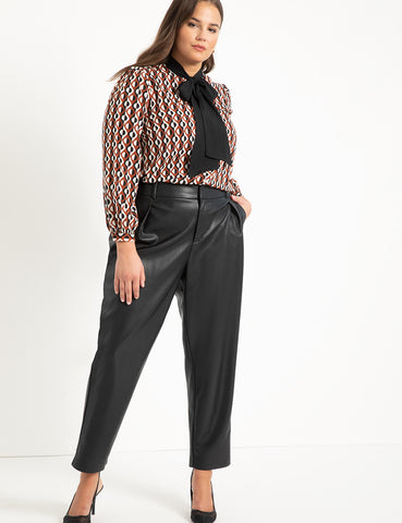 Tie Neck Blouse in Check Your Dots