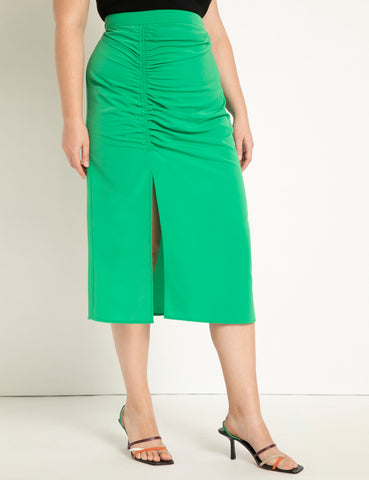 Ruched Front Skirt in Fern Green