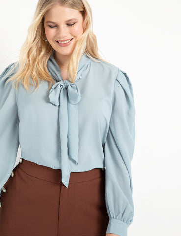 Scarf Front Blouse in Cloud Blue