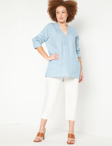 Denim Pullover Long Sleeve Tunic in Light Wash