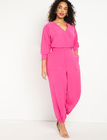Tapered Leg Jumpsuit in Rasberry Rose