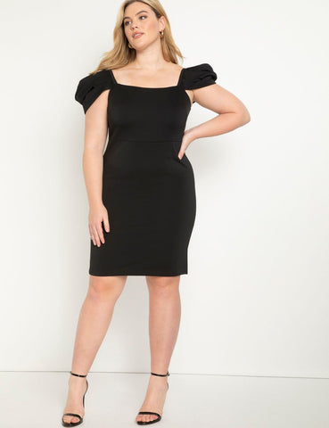 Puff Sleeve Scuba Dress in Totally Black