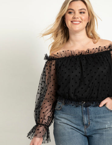 Point D'espirit Off the Shoulder Top in Black