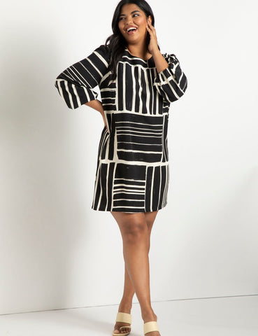 Puff Sleeve Easy Tee Dress in Basket Weave