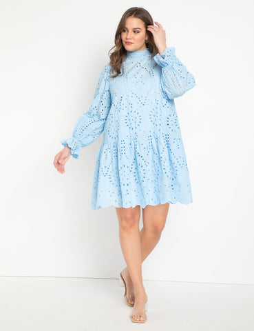 Eyelet Easy Dress in Placid Blue