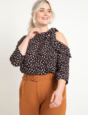 Cold Shoulder Blouse in Dots All