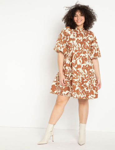 Printed Puff Sleeve Easy Dress in Cut Out and Keep