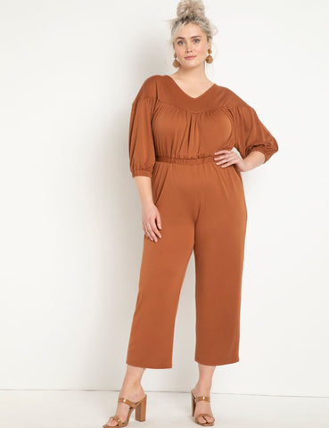 Knit Jumpsuit with Yoke in Mocha Bisque