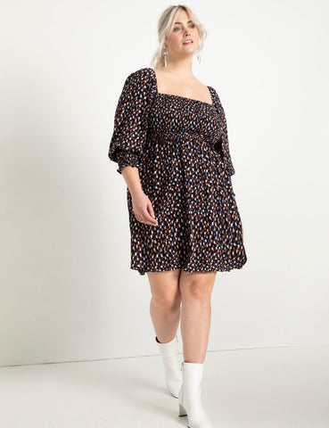 Puff Sleeve Mini Dress in Dots All