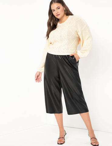 Faux Leather Culotte in Black