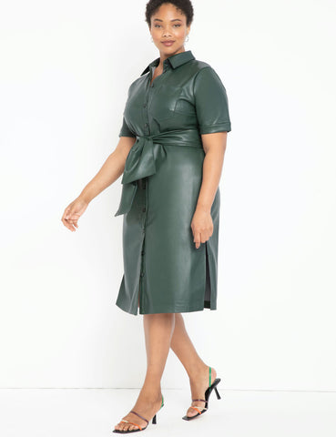 Faux Leather Trench Dress in Pine Grove