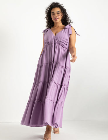 Tie Strap Tiered Maxi Dress in Orchid Mist