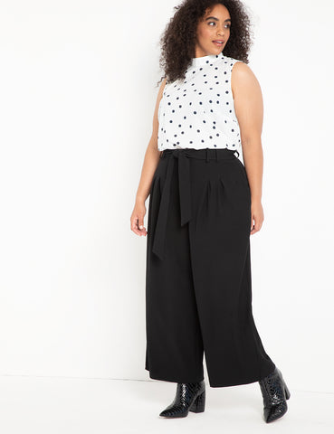 Crop Wide Leg Pant with Belt in Black