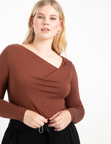 Cowl Neck Long Sleeve Top in Chocolate Fondant