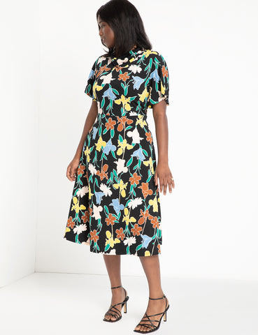 Cowl Fit And Flare Dress in Floral