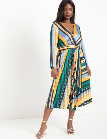 Sunburst Pleated Midi Dress in Stripe
