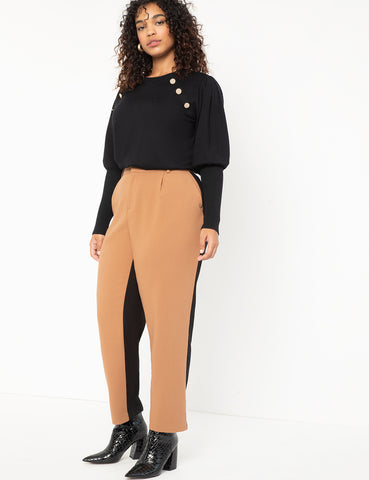 Colorblocked Trouser in Totally Black + Salted Carmel