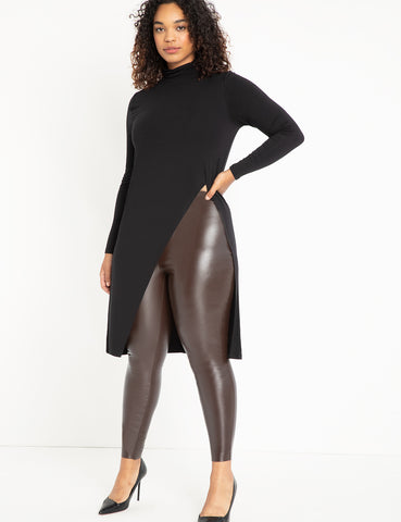 Long Sleeve Top with Dramatic Slit in Black