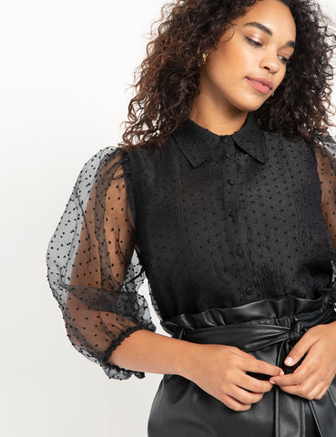 Swiss Dot Puff Sleeve Top in Black
