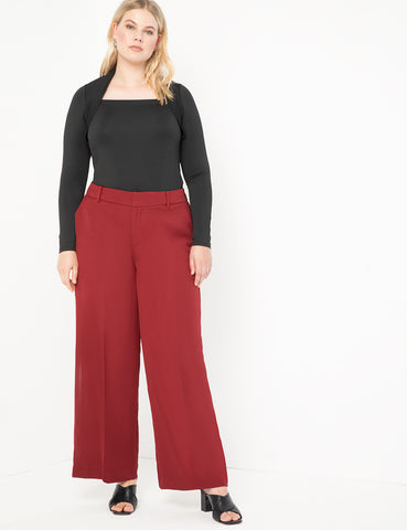 Wide Leg Venice Crepe Trouser in Merlot