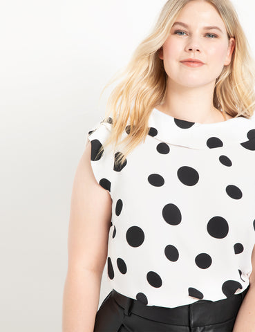 Cowl Neck Blouse in White with Black Dot