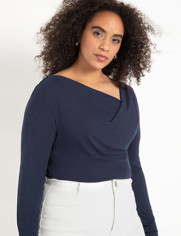 Cowl Neck Long Sleeve Top in Deep Sapphire