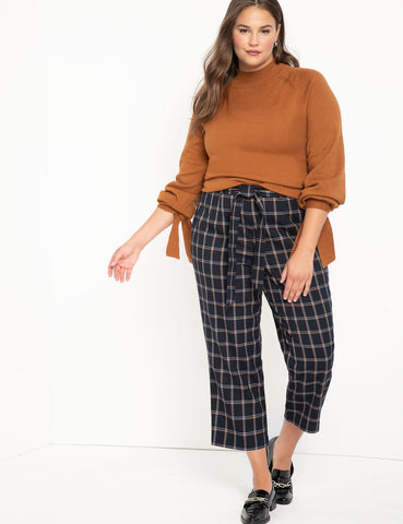 Crop Plaid Trouser in Navy Plaid
