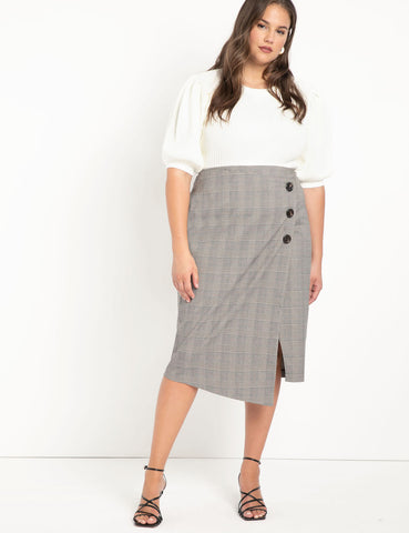 Wrap Plaid Skirt with Buttons in Black with Brown Plaid