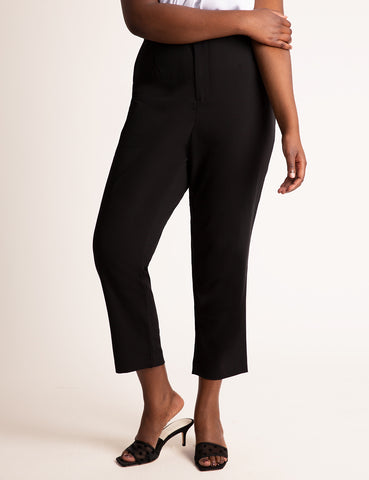 High Waisted Tapered Leg Trouser in Totally Black